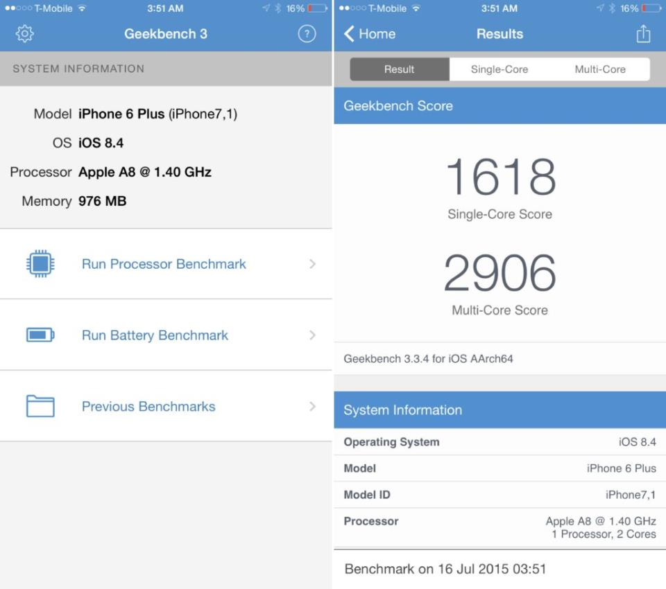 iPhone 6 Plus 5th gen benchmark