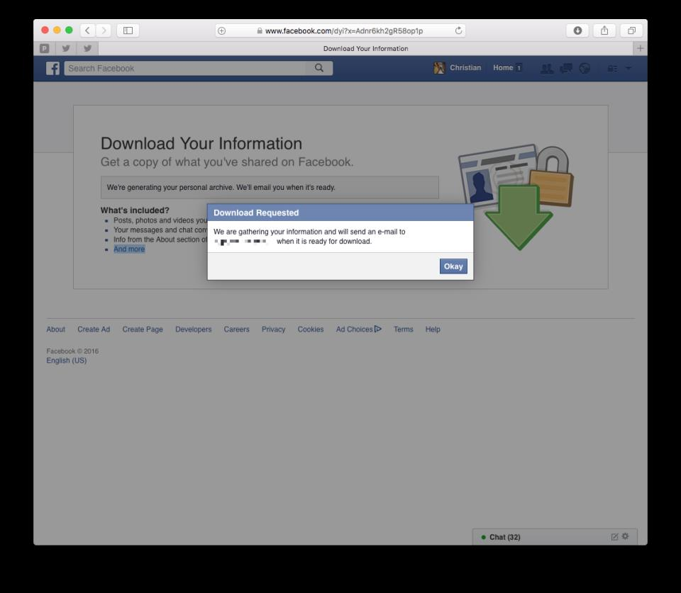 How to download Facebook archive web screenshot 004