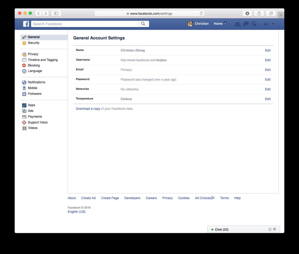 How to download Facebook archive web screenshot 001