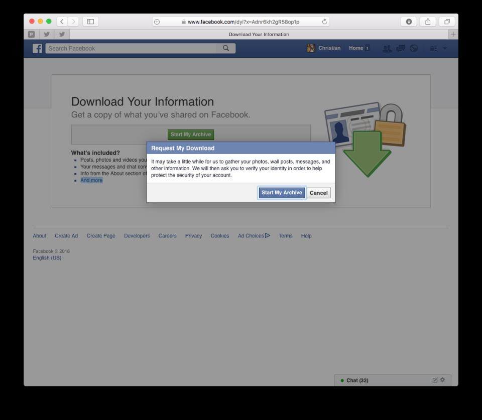 How to download Facebook archive web screenshot 003