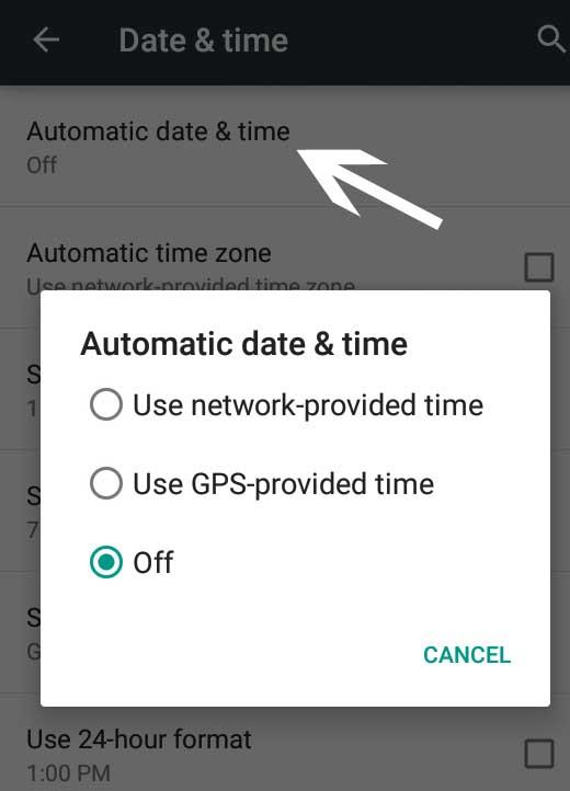 automatic date and time setting in android